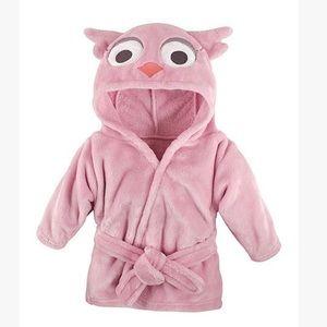 •Pink Owl Plush Hooded Robe